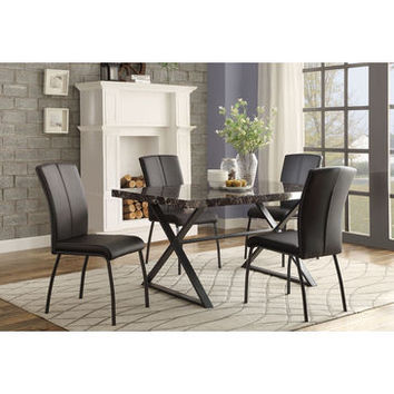 Homelegance Rancho Portola Dining Table With Faux Marble With Metal In Faux Marble / Black Metal Frame