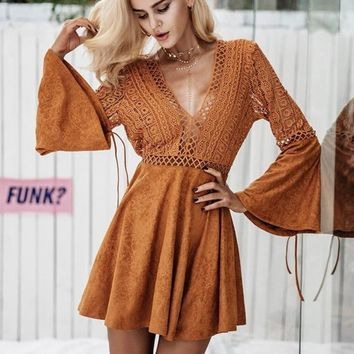 Sexy Suede Leather Lace Hollow Out Flare Sleeve Dress