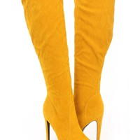 Yellow Platform High Heel Boots Faux Suede