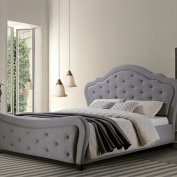 Barbara ii collection gray fabric upholstered and tufted queen bed