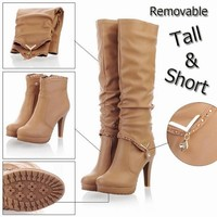 New2015 Winter Knee High Boots Women Motorcycle Boots Two Way Wear High Heels Soft Lea