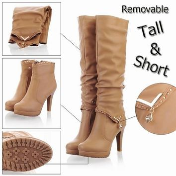 Fashion Online New2015 Winter Knee High Boots Women Motorcycle Boots Two Way Wear High Heels Soft Leather Shoes Winter Boots [7669086854]