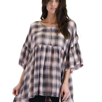 SL4358 Pink 3/4 Sleeve Plaid Tunic Top With Button Down Detail And Ruffle Sleeves 2-2-2