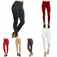 Women's Thick Winter Fabric Solid Print Fur lined Fleece Leggings One Size S-L