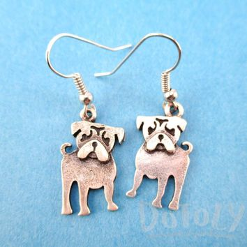 Classic Pug Puppy Dog Shaped Dangle Earrings in Silver | Animal Jewelry