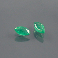 Emerald: 0.16twt Green Marquise Shape Gemstone Pair, Match Set, Natural Hand Made Faceted Gem, Loose Precious Beryl Mineral, Supply 20071