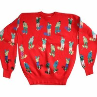 Crowd of Golfers Red Tacky Ugly Golf Sweater Men's Size Large (L)