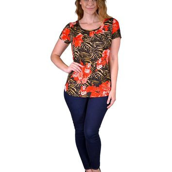 Plus allover print top