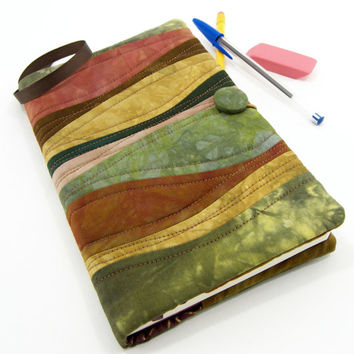 Moleskine Journal Cover, Quilted Journal Slipcover, Fabric Diary - Earth Tone Brown and Green Hand Dyed Cotton