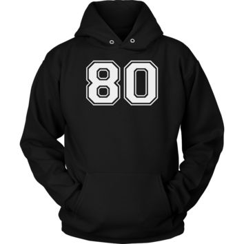 Vintage Sports Jersey Number 80 Hoodie for Fan or Player #80