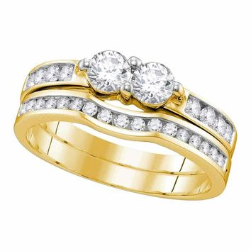 10kt Yellow Gold Women's Round Diamond 2-stone Bridal Wedding Engagement Ring Band Set 1-2 Cttw - FREE Shipping (US/CAN)