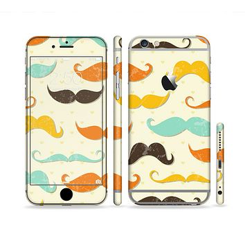 The Vintage Colorful Mustaches Sectioned Skin Series for the Apple iPhone 6