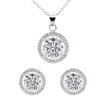 Ariel 18k White Gold Plated Earrings and Necklace Set
