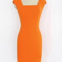 Orange Zippered Midi Dress