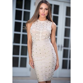 RINA Studded  Bandage and Mesh Dress Available in 4 colors
