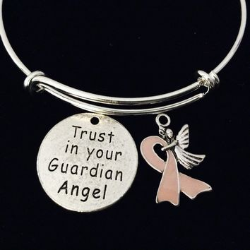 Trust in Your Guardian Angel Pink Awareness Ribbon Adjustable Bracelet Expandable Charm Bracelet Bangle Inspirational Gift Breast Cancer