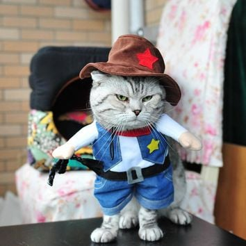 Whimsy! Funny West Cowboy Pet cat Costumes Puppy Dog Clothing Costumes Outfit Clothes + hat  Suit For Small Cat Supplies