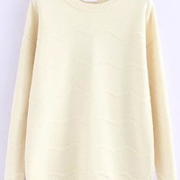 Beige Zigzag Long Sleeve Knitted Sweater