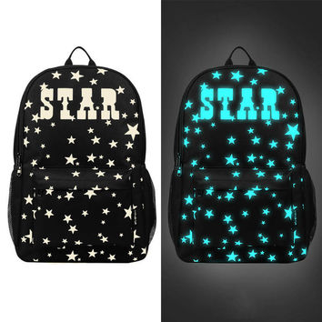 2017 Fashion Luminous Backpacks For Teenage Girls Travel Laptop Bagpack Oxford Star Printing Backpack School Bag Mochila Escolar