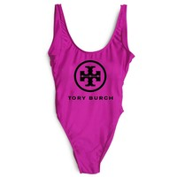 Tory burch New Fashion Letter Print Swimsuit One Piece Bikini Suit Rose red