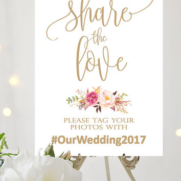 Share the Love Sign | Various Sizes | Tangled | Antique Gold | Add Your Hashtag | Bouquet Options | I Create and You Print