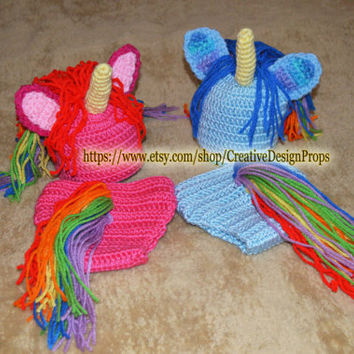 Crochet Baby Costume My Little Rainbow Unicorn Boy Girl newborn set, diaper cover and hat, photo prop, outfit or Baby Shower Gift