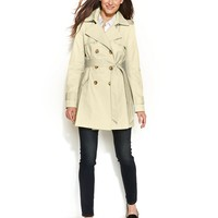 DKNY Double-Breasted Hooded Trench Coat