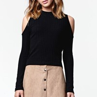 Kendall & Kylie Long Sleeve Ribbed Cold Shoulder Top - Womens Tee