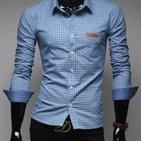 Shirt Collar Checked Long Sleeve Button Down Shirt