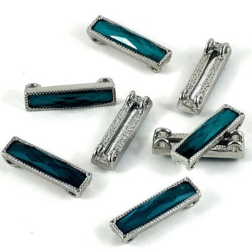 Faceted Rectangle Sea Blue Green Beads in Metal Casing  - Set of 8 - Jewellery Art and Craft Supplies - 25 x 6mm - DeeDeeSupplies