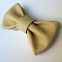 Real Leather Bow Tie Bowtie Ivory Beige Nude Flesh colored Leather neckties Wedding Groomsmen Bow Tie Man Men Lady Dickie Bow BowTie4You
