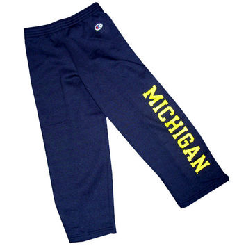 Champion Youth Navy University of Michigan Open Bottom Pant