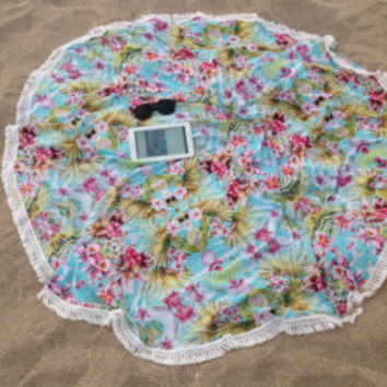 Round Towel Beach Throw Towel Beach Cover Up Picnic Bed Throw Sarong Skirt Hawaiian Island Tropical Resort Wear Boho Indie Tassel Roundie