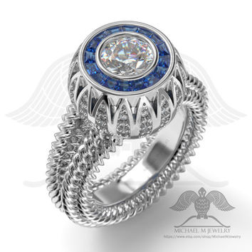 COUNTESS Diamonds and Sapphires engagement halo ring, custommade ******Made to Order - 038