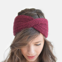 SALE 15% OFF / Ready to Ship /  Hand Knit Turban in Burgundy, Wool Winter Headband, Extra Chunky Turband, Womens Ear Warmer