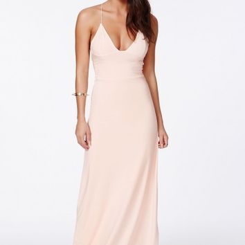 Missguided - Karinka Slinky Strappy Maxi Dress Nude
