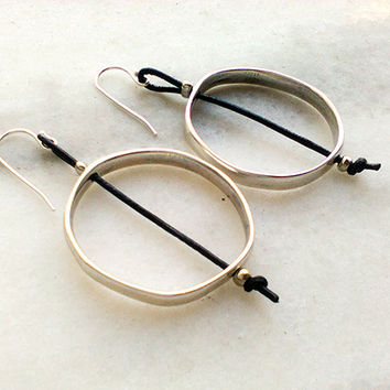 long silver hoop earrings, dangle silver circle earrings, gift womens, everyday simple modern earrings, geometric earrings, mothers gift