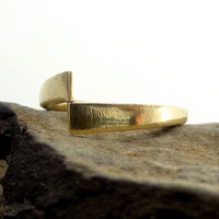 """RING """"Enigma1"""" in 14K Yellow, Rose or White Gold. Modern, Minimalistic. Hammered, Forged, Stackable."""