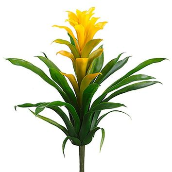"""Artificial Tropical Bromeliad Plant in Yellow - 14"""" Tall"""