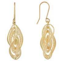 Italian Glamore(Tm) Fancy Twisted Design 10k Yellow Gold Dangle Earrings        Made In Italy