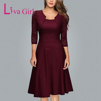 Liva Girl Womens Asymmetrical Neck Burgundy Dress 2018 Autumn Winter Women Lace Midi Dresses Elegant Evening Party Dress XXL