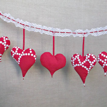 Red fabric heart Christmas ornament Xmas tree decorations set of 5
