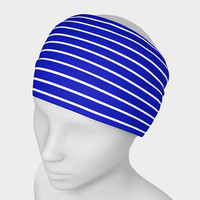 Royal Blue and White Horizontal Stripes Extra Wide Headband