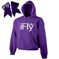 Purple iFly Cheer ComBow-White Print
