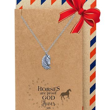 Therese Quan Jewelry Faith Reminder Horse Necklace for Women, Animal Pendant with Inspirational Quote, Silver Tone