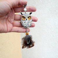 Owl pendant  jewelry, women's jewelry, men jewelry, animal jewelry, handmade owl, owl totem, owl pendant necklace, gift for her, owls