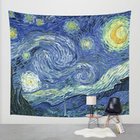 Van Gough Starry Night Fabric Wall Tapestry, Wall Hanging, Boho Decor, Home Decor, Art, Dorm Room Tapestry, Indoor Outdoor Tapestry