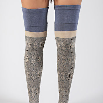 knit won't quit thigh high socks - denim