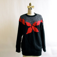 Vintage Holiday Sweater . Black, Silver, and Red Poinsettia Christmas Sweater