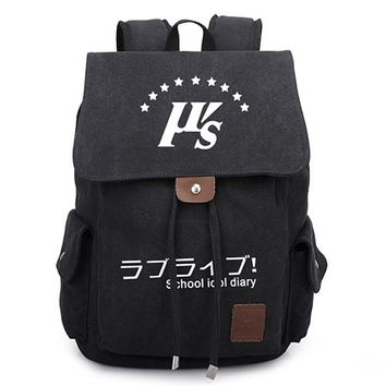 Japanese Anime Bag  Love Live Canvas Backpack Women Men Vintage School Bags for Teens Students Drawstring Travel Bag Daily Backpack AT_59_4